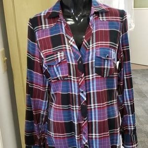 Maurices plaid snap up shirt